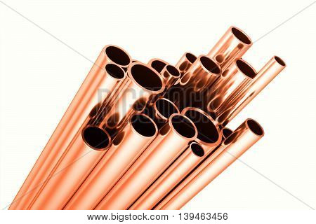 Copper round pipes, industrial background, 3d illustration