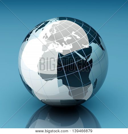 A 3d rendered illustration. Image of a Globe.