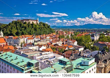 City of Ljubljana aerial view capital of Slovenia