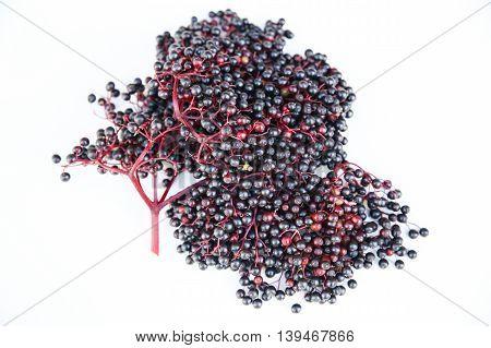 A digital photo of some juicy elder Berries.