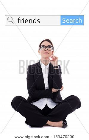 Internet And Social Network Concept - Search Bar And Beautiful Happy Business Woman Dreaming About N