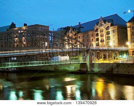 Hamburg Germany - May 25 2008: Channel in the city of Hamburg called Speicherstadt brick buildings at night