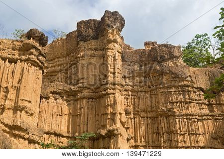 Natural phenomenon of eroded cliff, soil pillars, rock sculptured by water, wind for million years at Pha Chau, Pha Chor Canyon at Mae Wong National park, Chiang Mai, Thailand