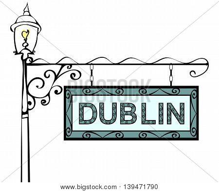 Dublin retro vintage lamppost pointer. Dublin Capital Ireland tourism travel.