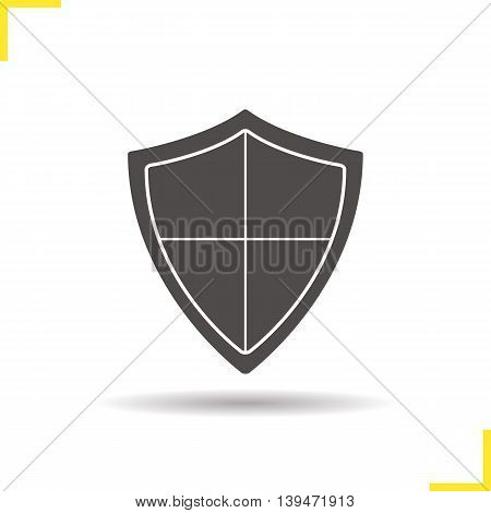 Shield icon. Negative space. Drop shadow silhouette symbol. Protection, security, defence, guard, armour and safety emblem. Vector isolated illustration