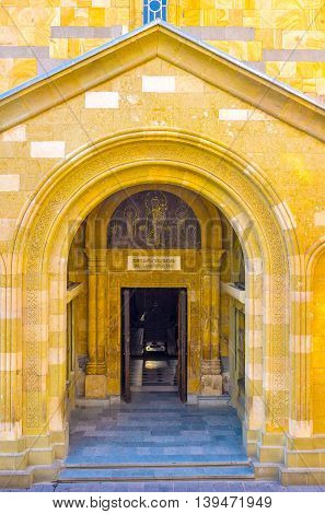 The entrance to the Anchiskhati Basilica one of the oldest churches in Tbilisi Georgia.