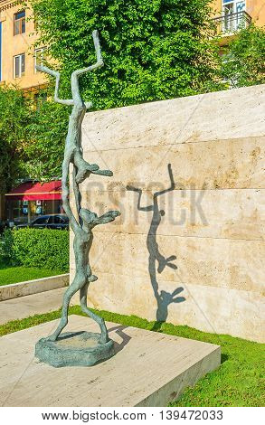 YEREVAN ARMENIA - MAY 29 2016: The sculpture of two slim rabbits in Cafesjian sculpture garden on May 29 in Yerevan.