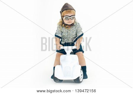 Small Boy Driver Or Pilot Isolated On White
