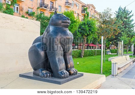YEREVAN ARMENIA - MAY 29 2016: The sculpture of the fat cat of Columbian Modern Artist Fernando Botero in Cafesjian sculpture garden on May 29 in Yerevan.