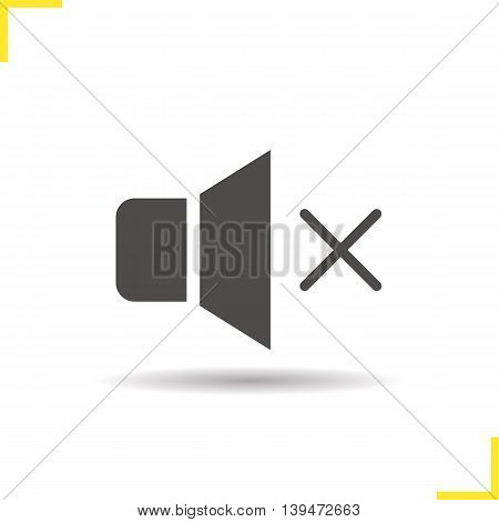 Sound off icon. Drop shadow mute silhouette symbol. Megaphone vector isolated illustration