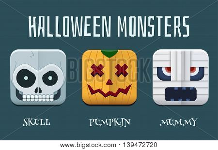 Halloween Monster Icon Set
