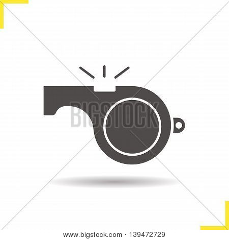 Whistle icon. Negative space. Drop shadow silhouette symbol. Vector isolated illustration