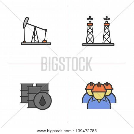 Oil industry color icons set. Oil pumpjack, drilling rig, barrels and industry workers. Vector isolated illustrations