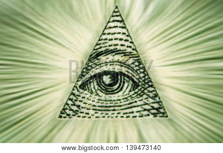 Dollar USA. Element of the image of United States one-dollar bill pyramid Eye of Providence Beams from pyramid every which way. Conceptual photo for successful business design. Macro