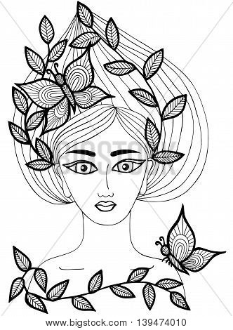 Portrait of a beautiful girl with butterfly and leaves on the long hair. Mono color black line art element for adult coloring book page design.