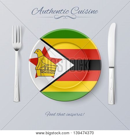 Authentic Cuisine of Zimbabwe. Plate with Zimbabwean Flag and Cutlery