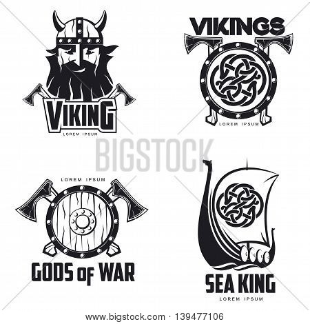 Scandinavian Viking set of logos, illustration outline isolated on white background. set of logos with Viking shield Scandinavian boat and head. different set of logos