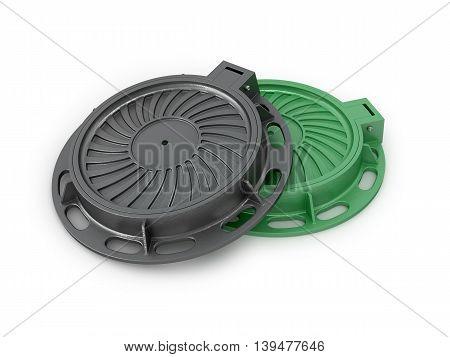 Manhole Covers. Sewer manholes on a white background. 3d illustration
