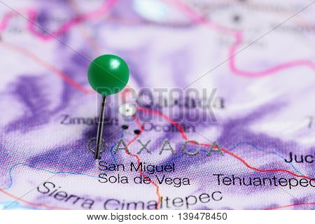 San Miguel Sola de Vega pinned on a map of Mexico