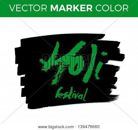 Holi lettering. Hand written Holi poster. Modern hand lettering. Holi. Vector illustration