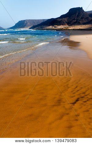 Cape Verde Praia Grande beach waves and mountains