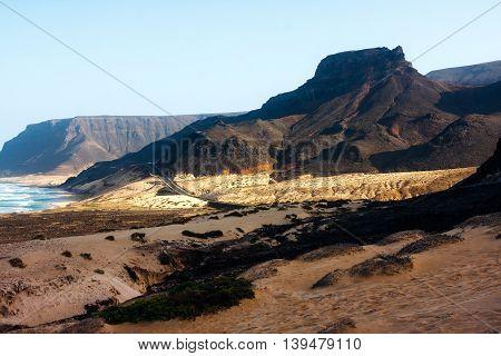 Volcanic mountains of Cape Verde. Praia Grande beach