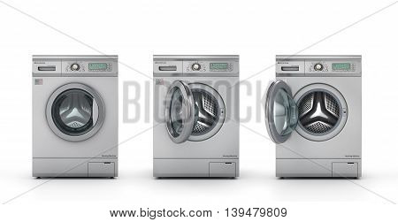 Set of three modern washing machines in metallic color. Closed half open and open washing machine. 3d illustration