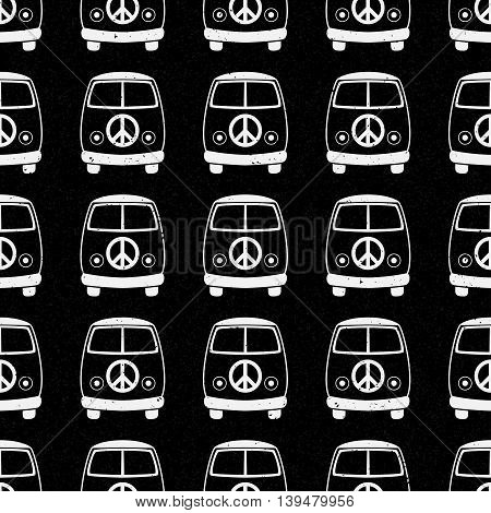 Hippie vintage car a minivan sign popular for flower children Love and Music, woodstock with hand pattern fonts textile background and textures. Hippy color vector illustration. Retro 1960s, 70s style