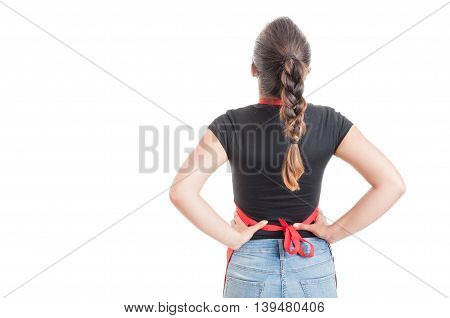 Young Hypermarket Employee In Back View