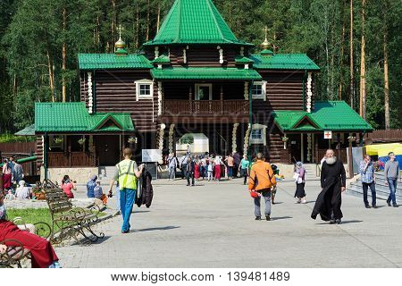 Yekaterinburg, Russia - July 17 2016: Pilgrims at the temple in honor of the Iberian Mother of God at the Ganina Yama in Yekaterinburg