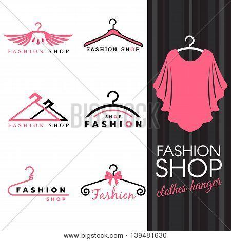 Fashion shop logo - Sweet ping shirts and Clothes hanger logo vector set design