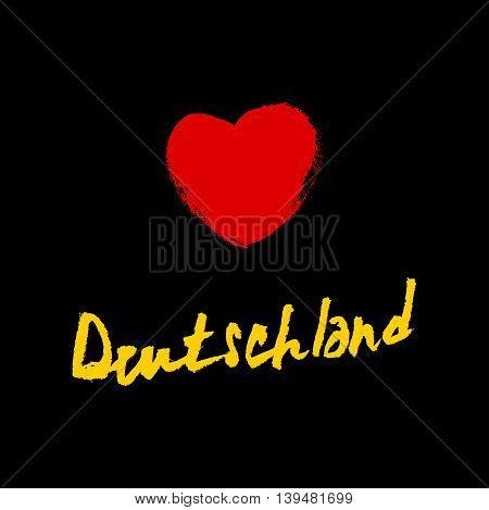 Hand sketched text 'Deutschland'. Hand drawn german postcard card flyer package banner template. German lettering typography.