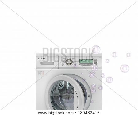 Concept of washing. The bubbles flying from the open washing machine. 3d illustration