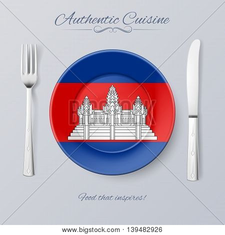 Authentic Cuisine of Cambodia. Plate with Cambodian Flag and Cutlery