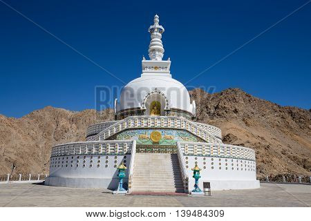Tall Shanti Stupa Peace Pagoda near Leh Ladakh Jammu and Kashmir India