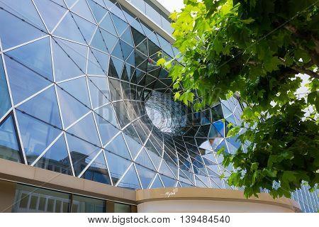 Frankfurt, Germany - June 15, 2016: Facade of the modern shopping mall MyZeil in the city off Frankfurt am Main.