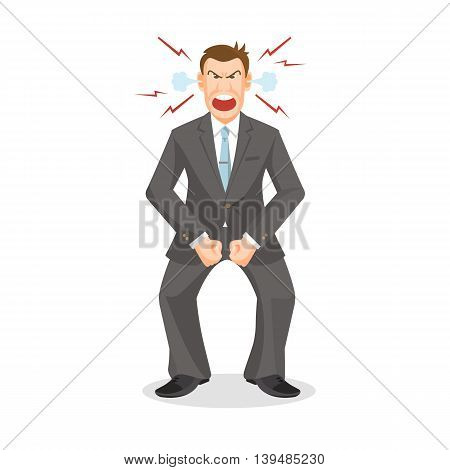 Woman full of anger is shouting something with aggression, vector colorful flat illustration