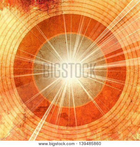 Grunge sunburst with circles and shiny rays - retro starburst - abstract radio music sound waves - vintage record design