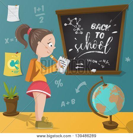 Back to school. Schoolgirl, chalkboard and school supplies. Funny cartoon character. Vector illustration