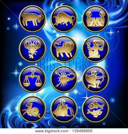 Set of glossy round zodiac icons with gold linear symbols on blue abstract luminous starry background. Vector illustration