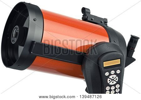 Telescope optical professional instrument for astronomy, close view. 3D graphic