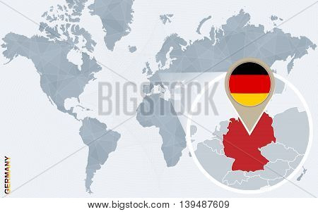 Abstract Blue World Map With Magnified Germany.