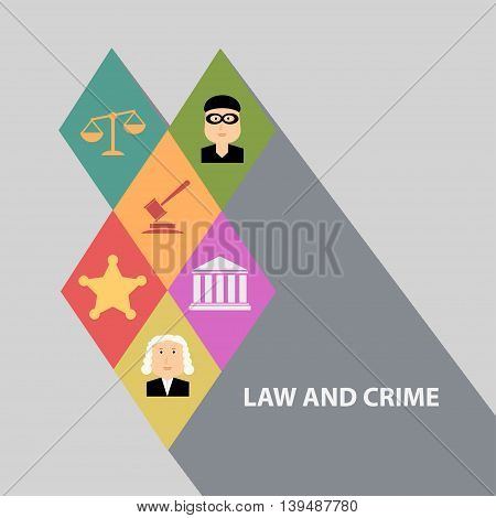 Flat design concepts for law and order house of justice trial by jury crime and punishment