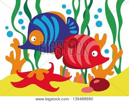 Two cute cartoon fishes under the sea. Vector illustration.