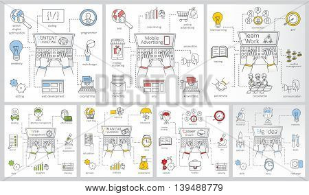 Doodle line design of web banner templates with outline icons of time management, career growth,mobile advertising, team work.Vector illustration concept for website or infographics.