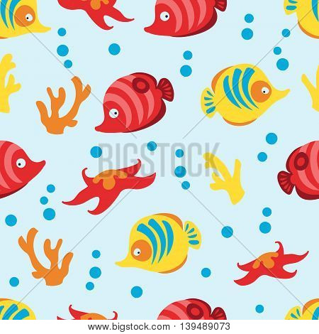 Seamless pattern with sea life on blue background. Vector illustration.