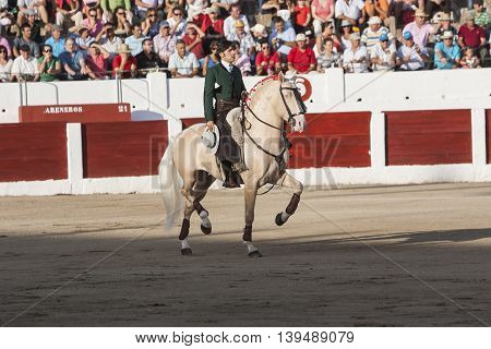 Linares SPAIN- august 31 2011: Spanish bullfighter on horseback Diego Ventura bullfighting on horseback in Linares Spain