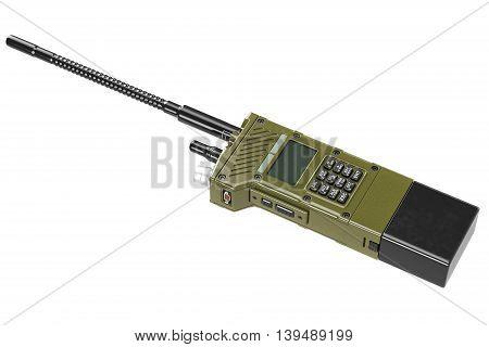 Military radio khaki army digital technology. 3D graphic