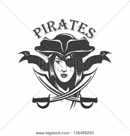Pirate woman and crossed sabers badge, logo.