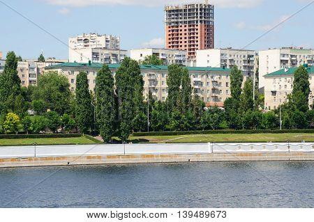 Saratov Russia- June 28 2016. Volga river embankment in Saratov town Russia